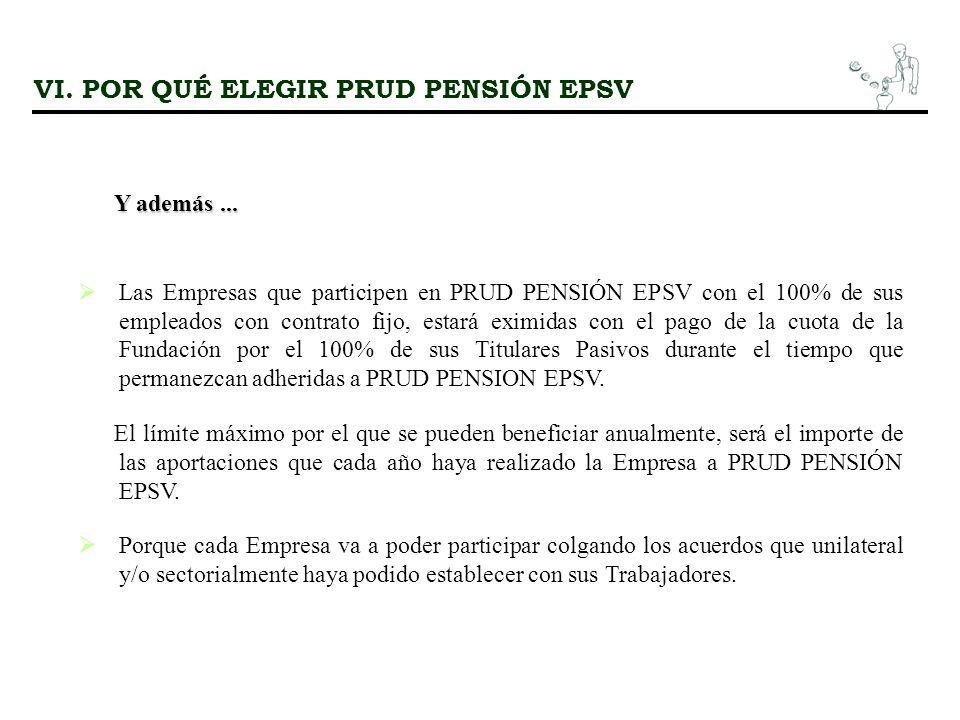 Las Empresas que participen en PRUD PENSIÓN EPSV con el 100% de sus empleados con contrato fijo, estará eximidas con el pago de la cuota de la Fundación por el 100% de sus Titulares Pasivos durante el tiempo que permanezcan adheridas a PRUD PENSION EPSV.