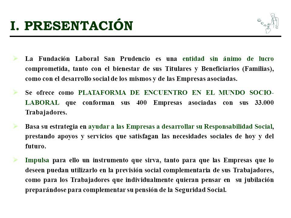I. PRESENTACIÓN La Fundación Laboral San Prudencio es una entidad sin ánimo de lucro comprometida, tanto con el bienestar de sus Titulares y Beneficia