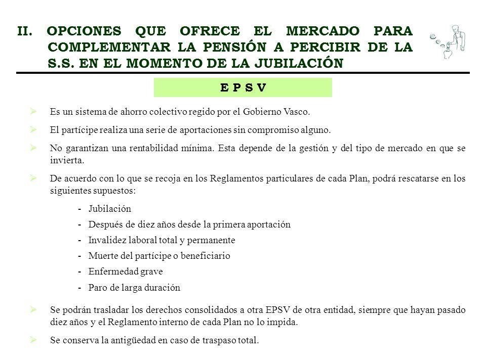 II. OPCIONES QUE OFRECE EL MERCADO PARA COMPLEMENTAR LA PENSIÓN A PERCIBIR DE LA S.S. EN EL MOMENTO DE LA JUBILACIÓN E P S V Es un sistema de ahorro c