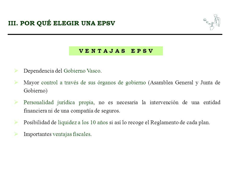 III. POR QUÉ ELEGIR UNA EPSV V E N T A J A S E P S V Dependencia del Gobierno Vasco. Mayor control a través de sus órganos de gobierno (Asamblea Gener