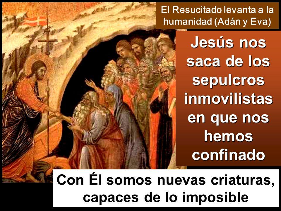 Con Él somos nuevas criaturas, capaces de lo imposible Jesús nos saca de los sepulcros inmovilistas en que nos hemos confinado El Resucitado levanta a la humanidad (Adán y Eva)