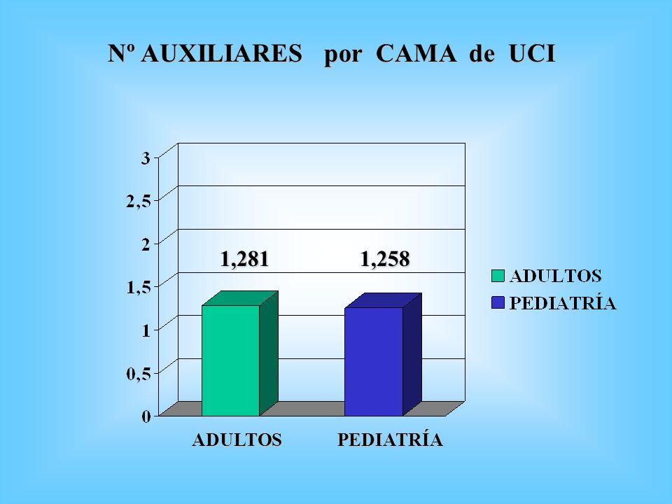 Nº AUXILIARES por CAMA de UCI 1,2811,258 ADULTOSPEDIATRÍA