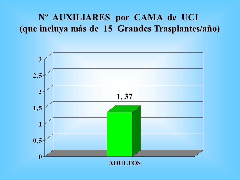 Nº AUXILIARES por CAMA de UCI Nº AUXILIARES por CAMA de UCI (que incluya más de 15 Grandes Trasplantes/año) 1, 37 ADULTOS