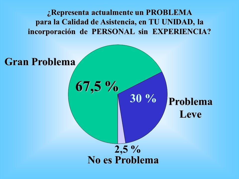 ¿Representa actualmente un PROBLEMA para la Calidad de Asistencia, en TU UNIDAD, la incorporación de PERSONAL sin EXPERIENCIA? ProblemaLeve 67,5 % 30