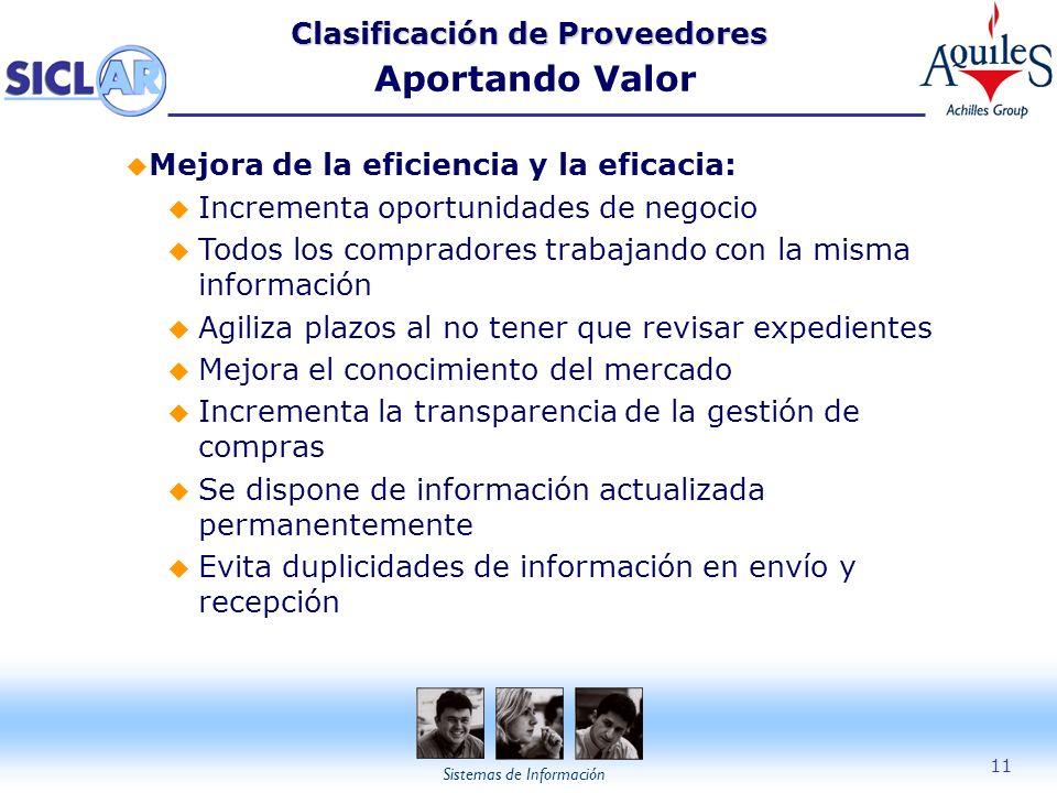 Sistemas de Información 11 Clasificación de Proveedores Clasificación de Proveedores Aportando Valor u Mejora de la eficiencia y la eficacia: u Increm