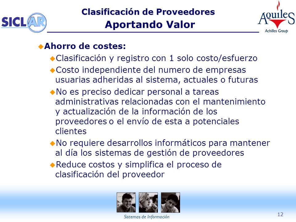 Sistemas de Información 12 Clasificación de Proveedores Clasificación de Proveedores Aportando Valor u Ahorro de costes: u Clasificación y registro co