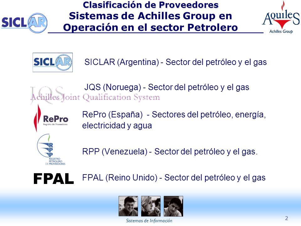 Sistemas de Información 2 Clasificación de Proveedores Clasificación de Proveedores Sistemas de Achilles Group en Operación en el sector Petrolero SIC