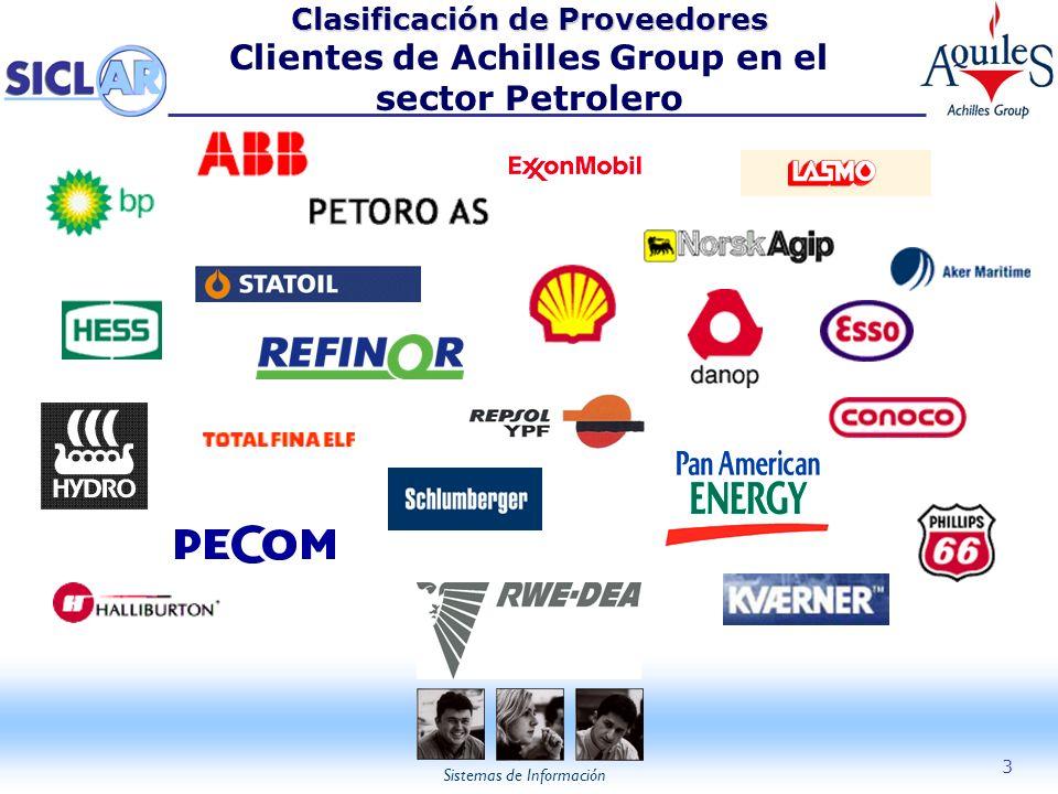Sistemas de Información 3 Clasificación de Proveedores Clasificación de Proveedores Clientes de Achilles Group en el sector Petrolero