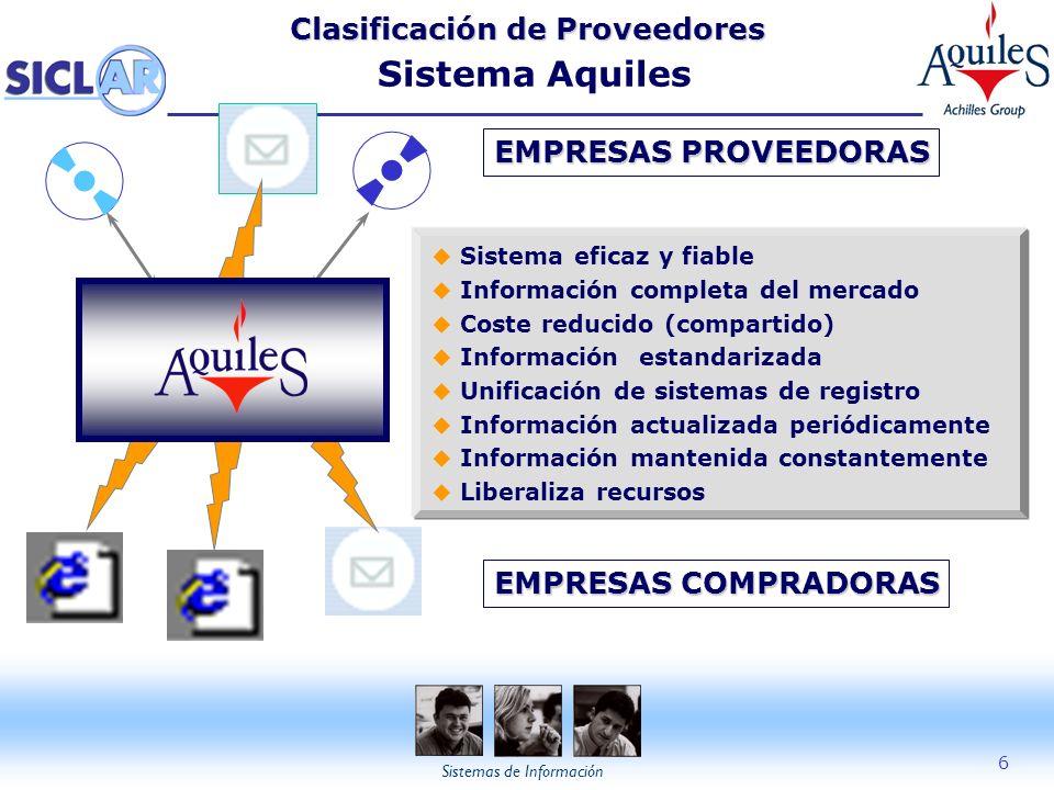 Sistemas de Información 6 Clasificación de Proveedores Clasificación de Proveedores Sistema Aquiles EMPRESAS PROVEEDORAS EMPRESAS COMPRADORAS u Sistem