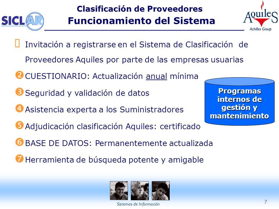 Sistemas de Información 7 Clasificación de Proveedores Clasificación de Proveedores Funcionamiento del Sistema Programas internos de gestión y manteni