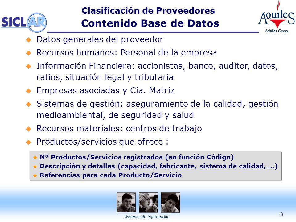 Sistemas de Información 9 Clasificación de Proveedores Clasificación de Proveedores Contenido Base de Datos u Datos generales del proveedor u Recursos