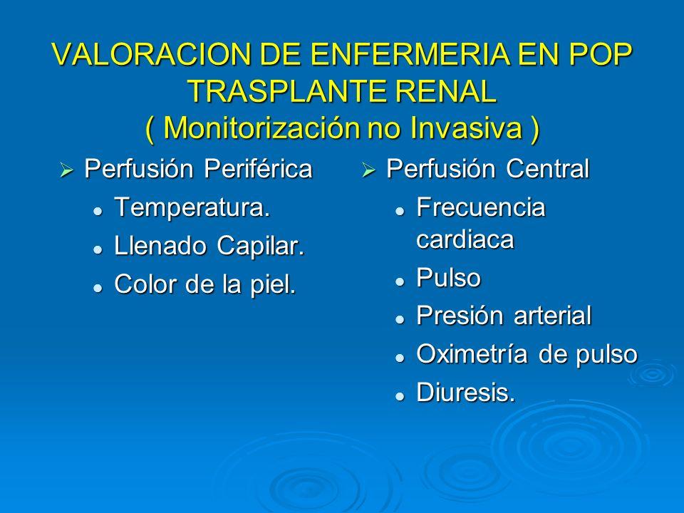 VALORACION DE ENFERMERIA EN POP TRASPLANTE RENAL ( Monitorización no Invasiva ) Perfusión Periférica Perfusión Periférica Temperatura. Temperatura. Ll