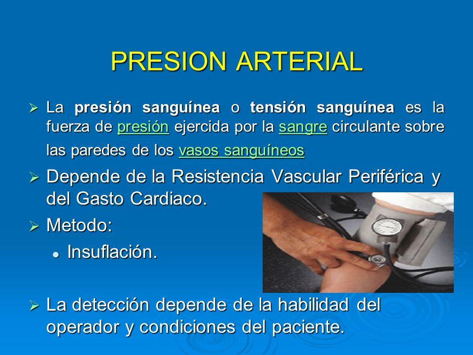 PRESION ARTERIAL La presión sanguínea o tensión sanguínea es la fuerza de presión ejercida por la sangre circulante sobre las paredes de los vasos san