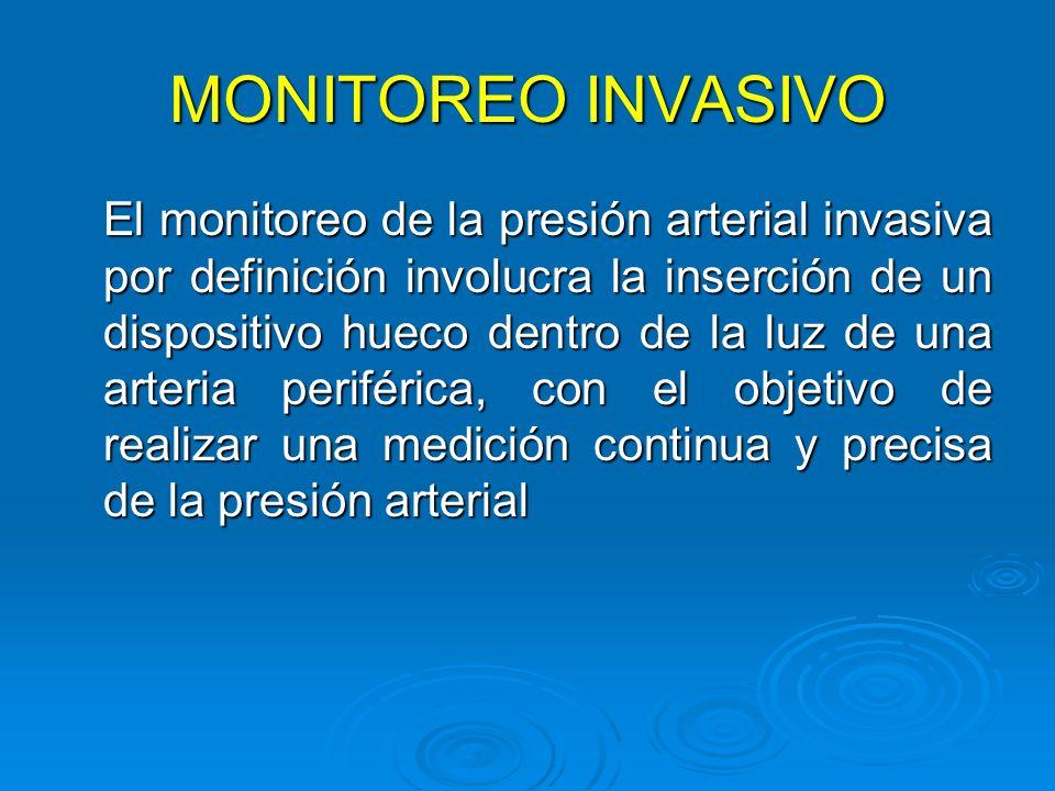 MONITOREO INVASIVO El monitoreo de la presión arterial invasiva por definición involucra la inserción de un dispositivo hueco dentro de la luz de una