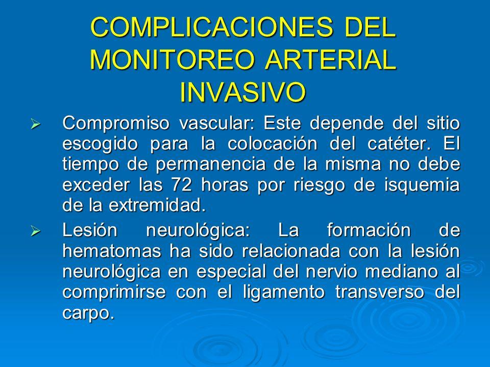 COMPLICACIONES DEL MONITOREO ARTERIAL INVASIVO Compromiso vascular: Este depende del sitio escogido para la colocación del catéter. El tiempo de perma