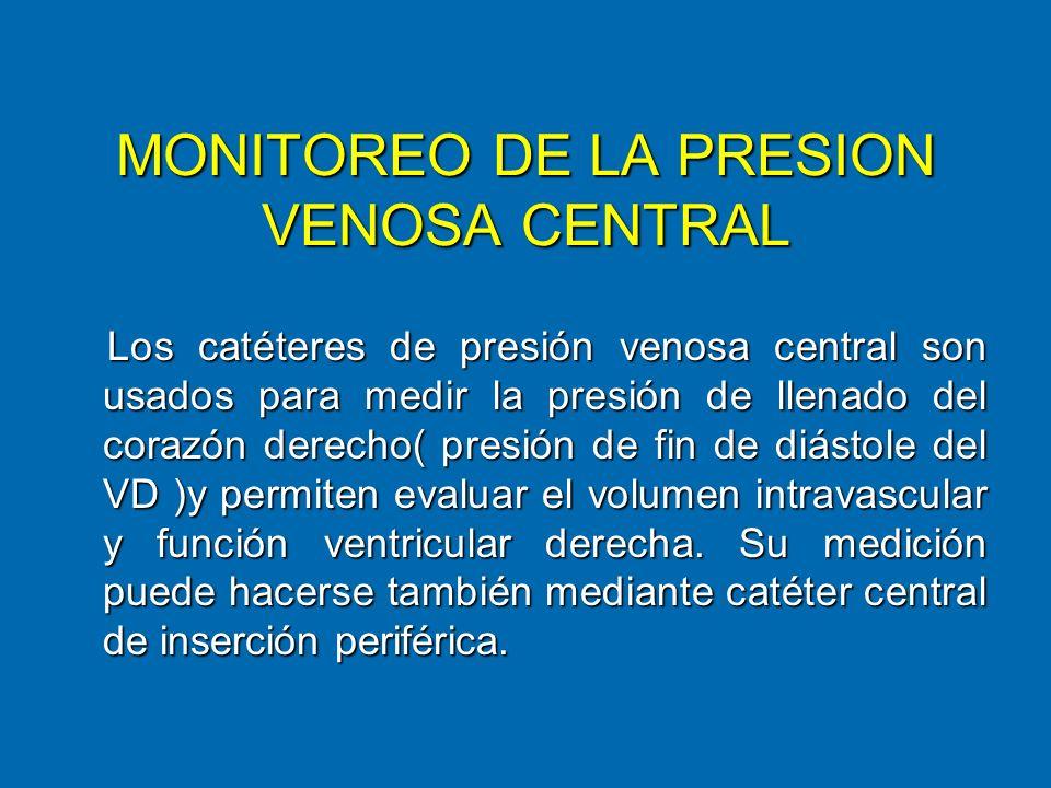 MONITOREO DE LA PRESION VENOSA CENTRAL Los catéteres de presión venosa central son usados para medir la presión de llenado del corazón derecho( presió