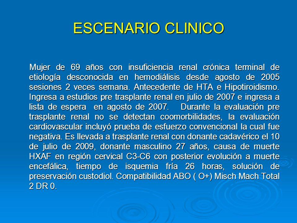 ESCENARIO CLINICO Mujer de 69 años con insuficiencia renal crónica terminal de etiología desconocida en hemodiálisis desde agosto de 2005 sesiones 2 v
