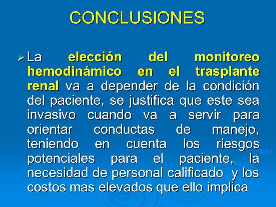 CONCLUSIONES La elección del monitoreo hemodinámico en el trasplante renal va a depender de la condición del paciente, se justifica que este sea invas