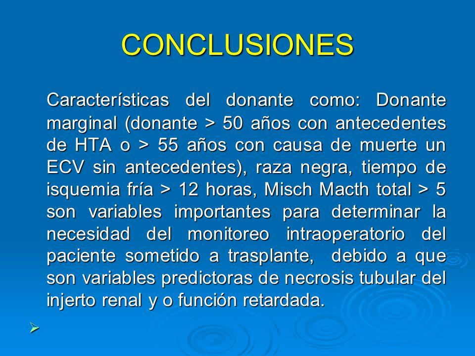CONCLUSIONES Características del donante como: Donante marginal (donante > 50 años con antecedentes de HTA o > 55 años con causa de muerte un ECV sin