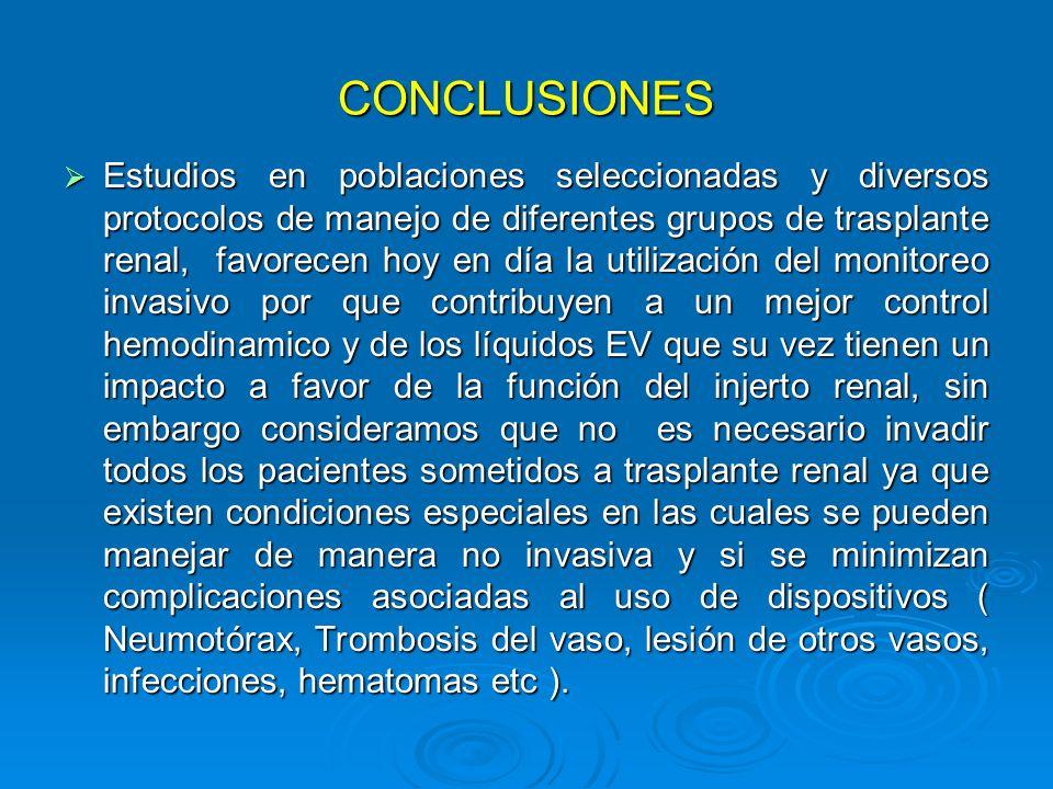 CONCLUSIONES Estudios en poblaciones seleccionadas y diversos protocolos de manejo de diferentes grupos de trasplante renal, favorecen hoy en día la u