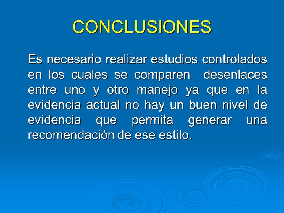 CONCLUSIONES Es necesario realizar estudios controlados en los cuales se comparen desenlaces entre uno y otro manejo ya que en la evidencia actual no