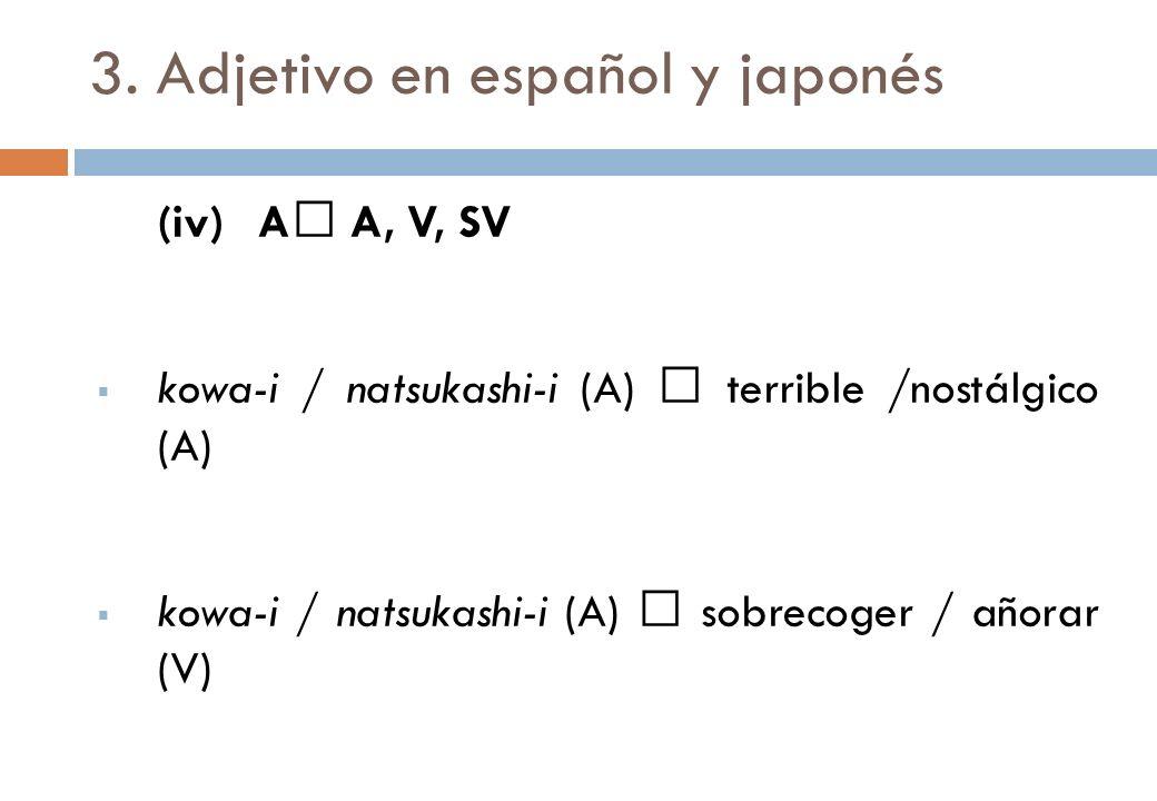 3. Adjetivo en español y japonés (iv)A A, V, SV kowa-i / natsukashi-i (A) terrible /nostálgico (A) kowa-i / natsukashi-i (A) sobrecoger / añorar (V) k