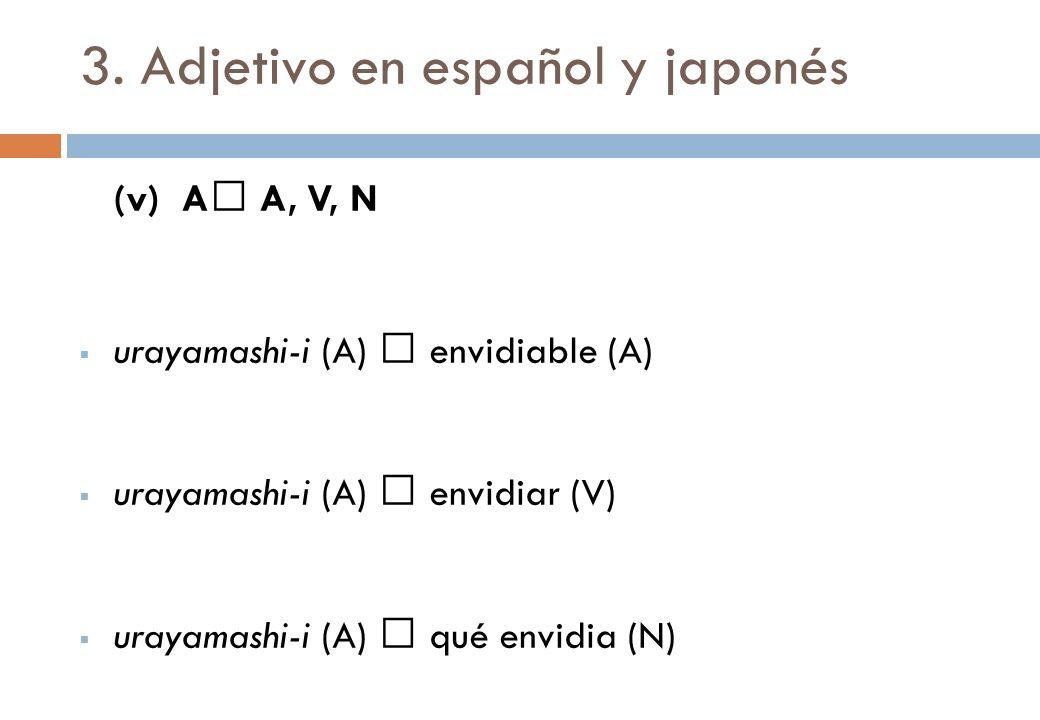 3. Adjetivo en español y japonés (v) A A, V, N urayamashi-i (A) envidiable (A) urayamashi-i (A) envidiar (V) urayamashi-i (A) qué envidia (N)