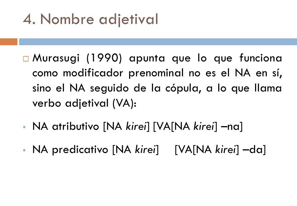4. Nombre adjetival Murasugi (1990) apunta que lo que funciona como modificador prenominal no es el NA en sí, sino el NA seguido de la cópula, a lo qu