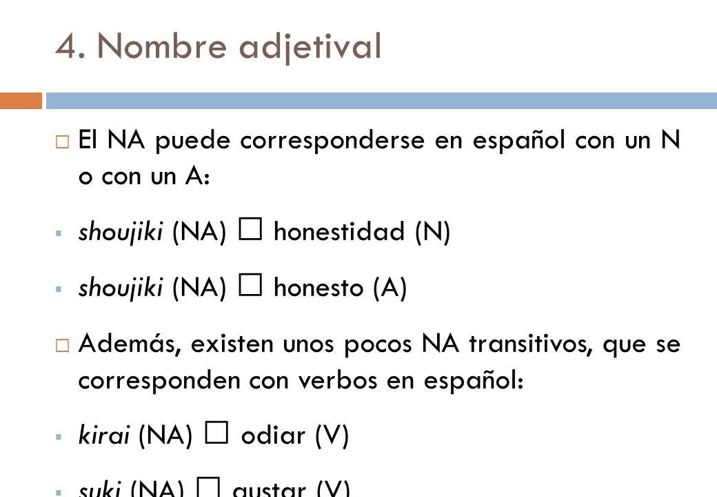 4. Nombre adjetival El NA puede corresponderse en español con un N o con un A: shoujiki (NA) honestidad (N) shoujiki (NA) honesto (A) Además, existen