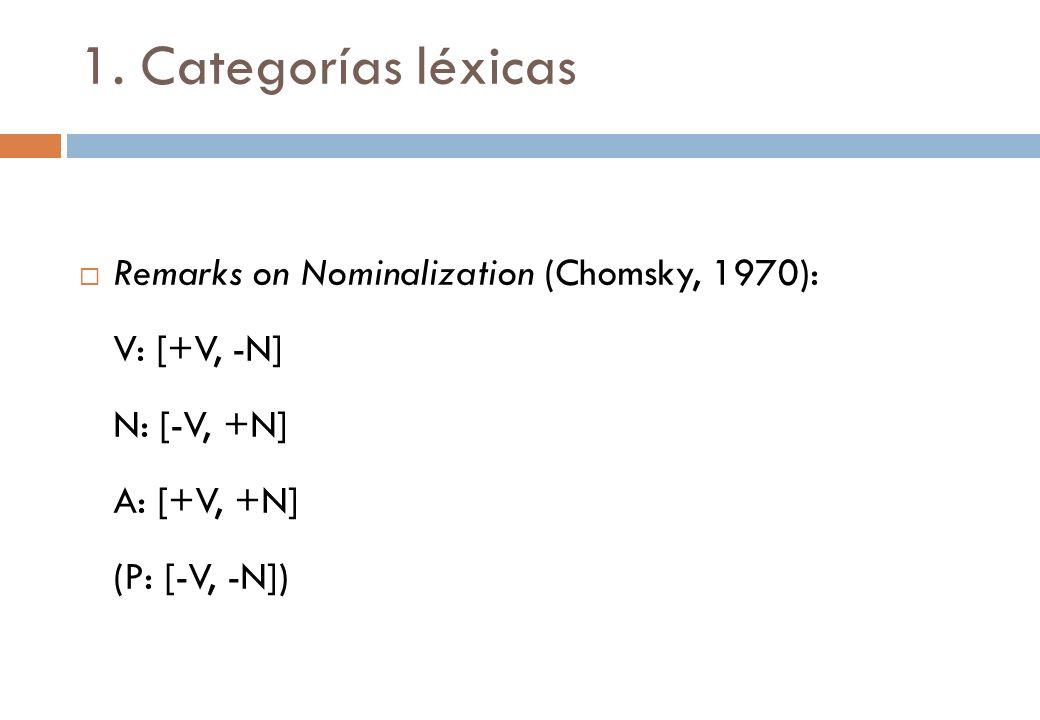 1. Categorías léxicas Remarks on Nominalization (Chomsky, 1970): V: [+V, -N] N: [-V, +N] A: [+V, +N] (P: [-V, -N])