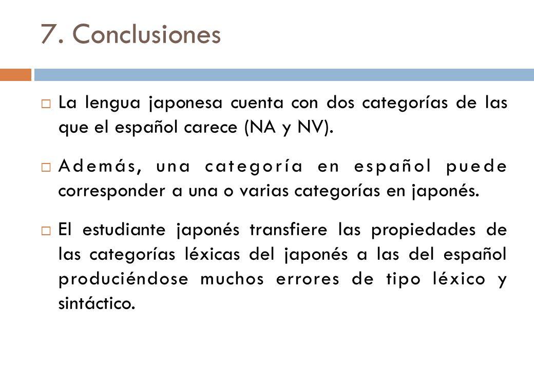 7. Conclusiones La lengua japonesa cuenta con dos categorías de las que el español carece (NA y NV). Además, una categoría en español puede correspond