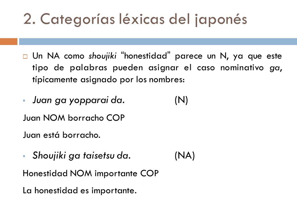 2. Categorías léxicas del japonés Un NA como shoujiki honestidad parece un N, ya que este tipo de palabras pueden asignar el caso nominativo ga, típic
