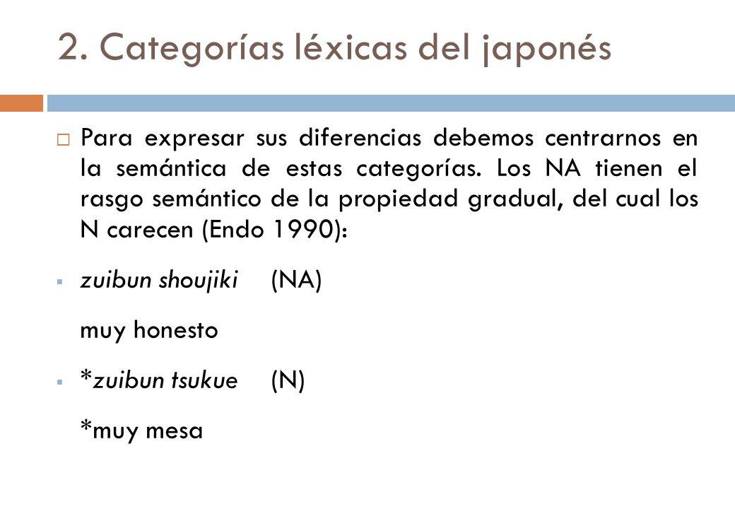 2. Categorías léxicas del japonés Para expresar sus diferencias debemos centrarnos en la semántica de estas categorías. Los NA tienen el rasgo semánti