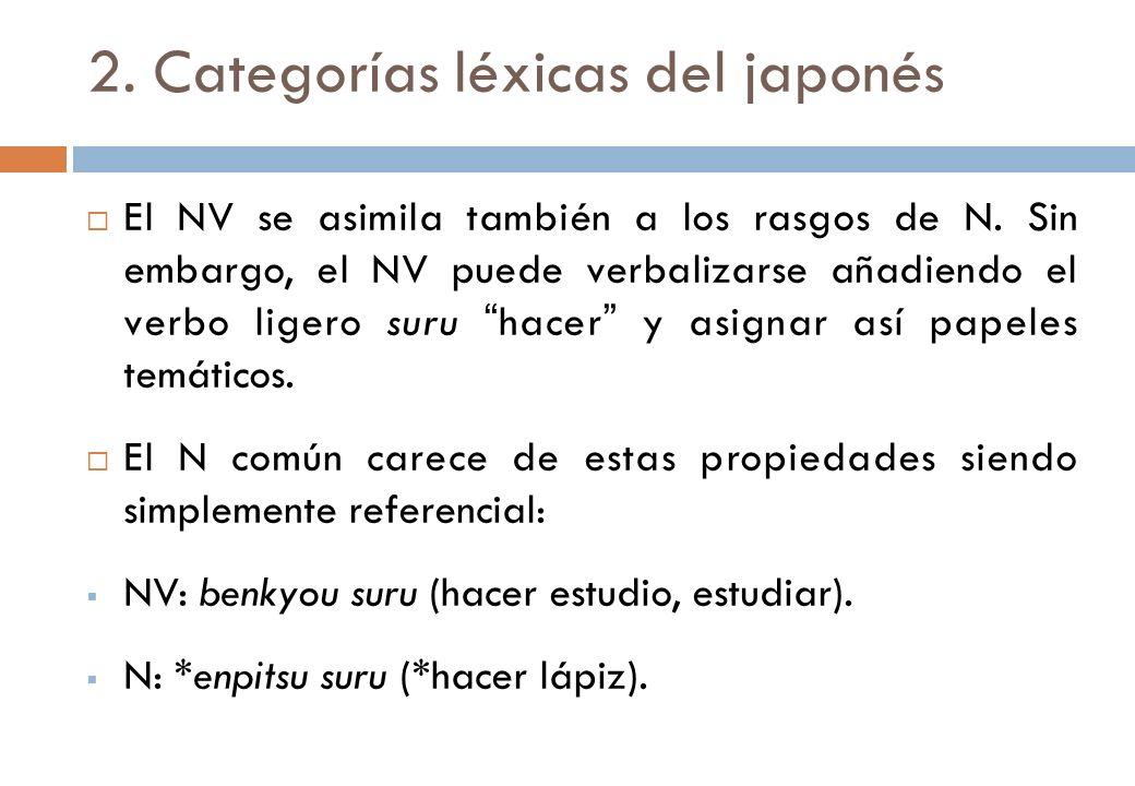 2. Categorías léxicas del japonés El NV se asimila también a los rasgos de N. Sin embargo, el NV puede verbalizarse añadiendo el verbo ligero suru hac