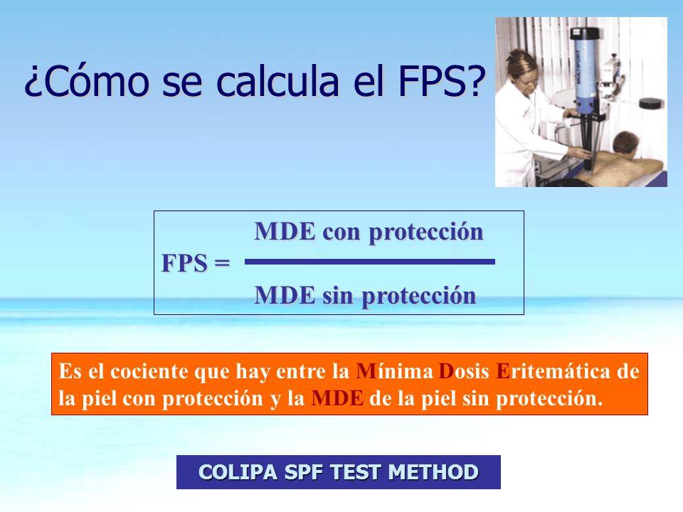 MDE con protección MDE con protección FPS = MDE sin protección MDE sin protección ¿Cómo se calcula el FPS? Es el cociente que hay entre la Mínima Dosi