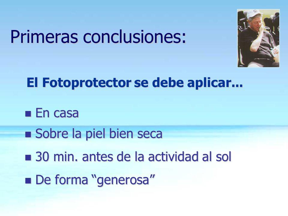 Primeras conclusiones: n En casa n Sobre la piel bien seca n 30 min. antes de la actividad al sol n De forma generosa El Fotoprotector se debe aplicar
