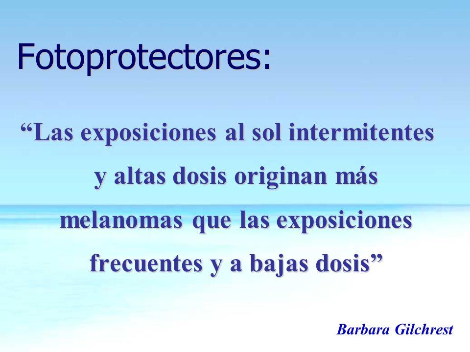 Fotoprotectores: Las exposiciones al sol intermitentes y altas dosis originan más melanomas que las exposiciones frecuentes y a bajas dosis Barbara Gi