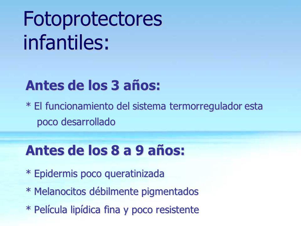 Fotoprotectores infantiles: Antes de los 3 años: * El funcionamiento del sistema termorregulador esta poco desarrollado Antes de los 8 a 9 años: * Epi