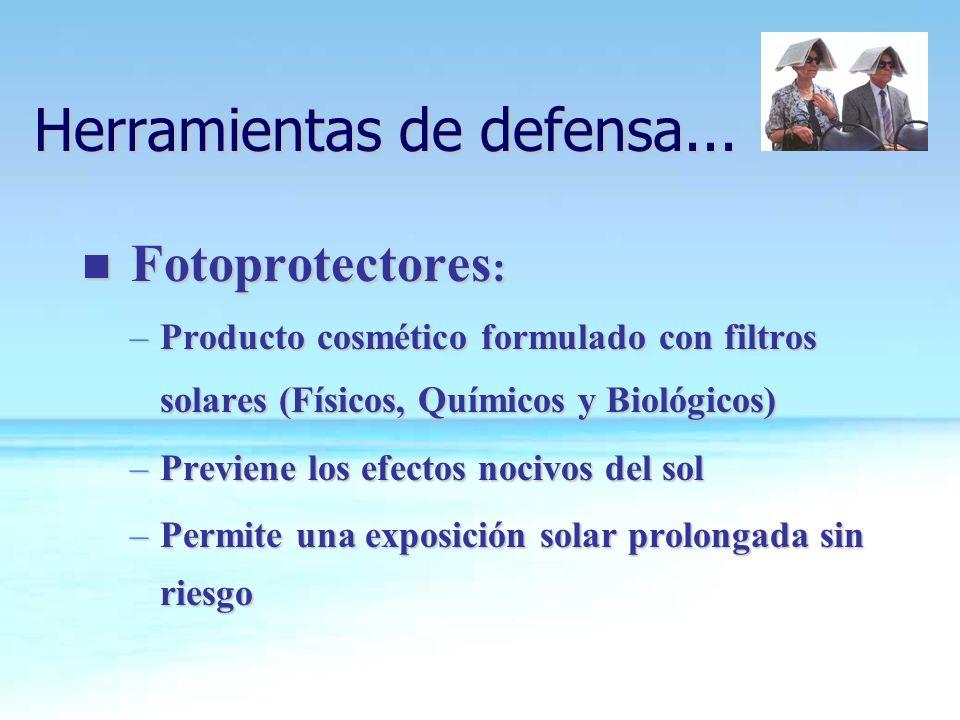 n Fotoprotectores : –Producto cosmético formulado con filtros solares (Físicos, Químicos y Biológicos) –Previene los efectos nocivos del sol –Permite