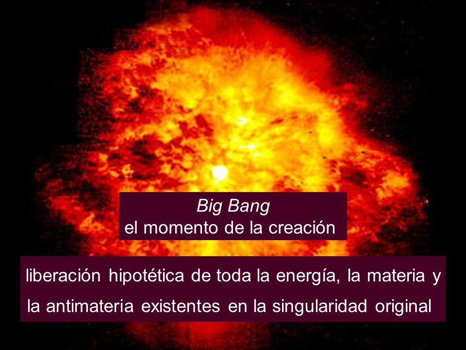 Big Bang el momento de la creación liberación hipotética de toda la energía, la materia y la antimateria existentes en la singularidad original