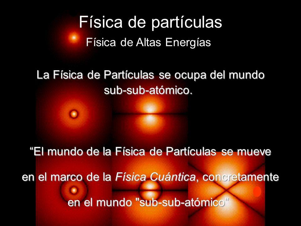 Física de partículas Física de Altas Energías La Física de Partículas se ocupa del mundo sub-sub-atómico. El mundo de la Física de Partículas se mueve