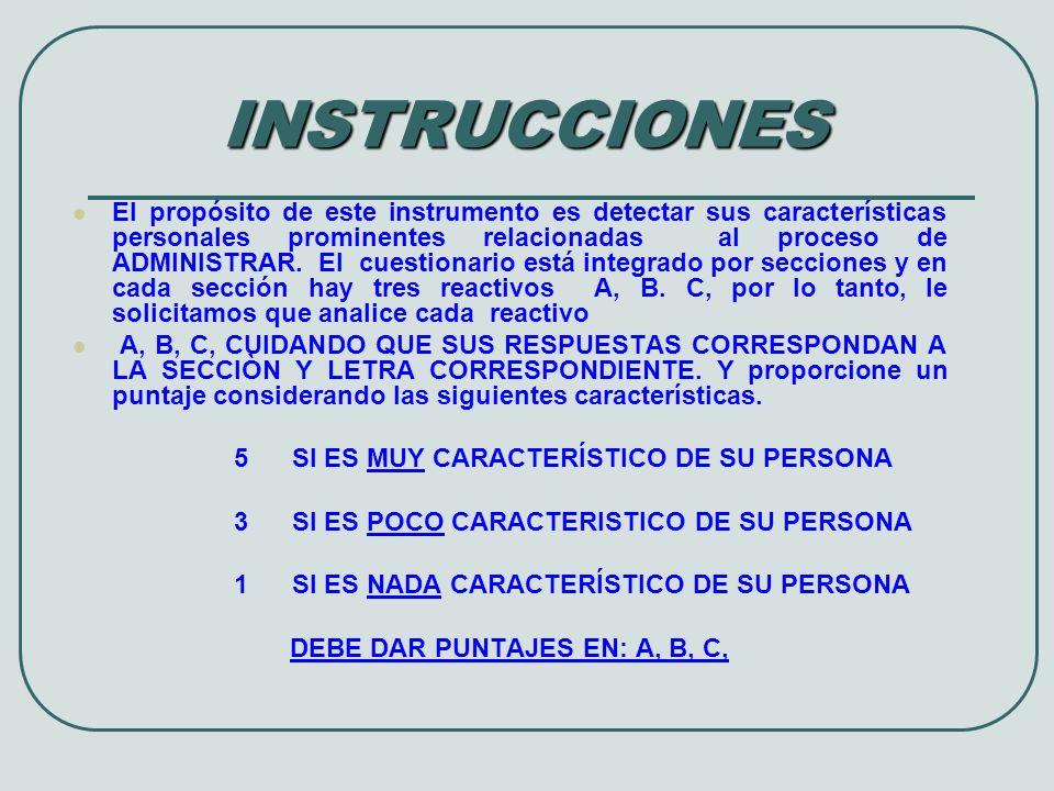 1ª S E C C I Ò N R E S P U E S TA S 5 , MUCHO 3 , POCO 1 NADA ANALÍTICO ( PERSONA QUE ANTE PROBLEMAS GUSTA ANALIZAR LAS SITUACIONES CUIDADOSAMENTE PARA DETERMINAR LAS CAUSAS.) DIRECTIVO (EL INDIVIDUO QUE REPRESENTA Y CONDUCE UN GRUPO DE PERSONAS FÁCILMENTE.) DILIGENTE (UNA PERSONA MUY ACTIVA: EN LA CASA Y EL TRABAJO, LE GUSTA ESTAR OCUPADA.) A A CONSULTORIO PSICOLÓGICO TEL.- 01 – 844 – 412 – 49 - 99 BC B C