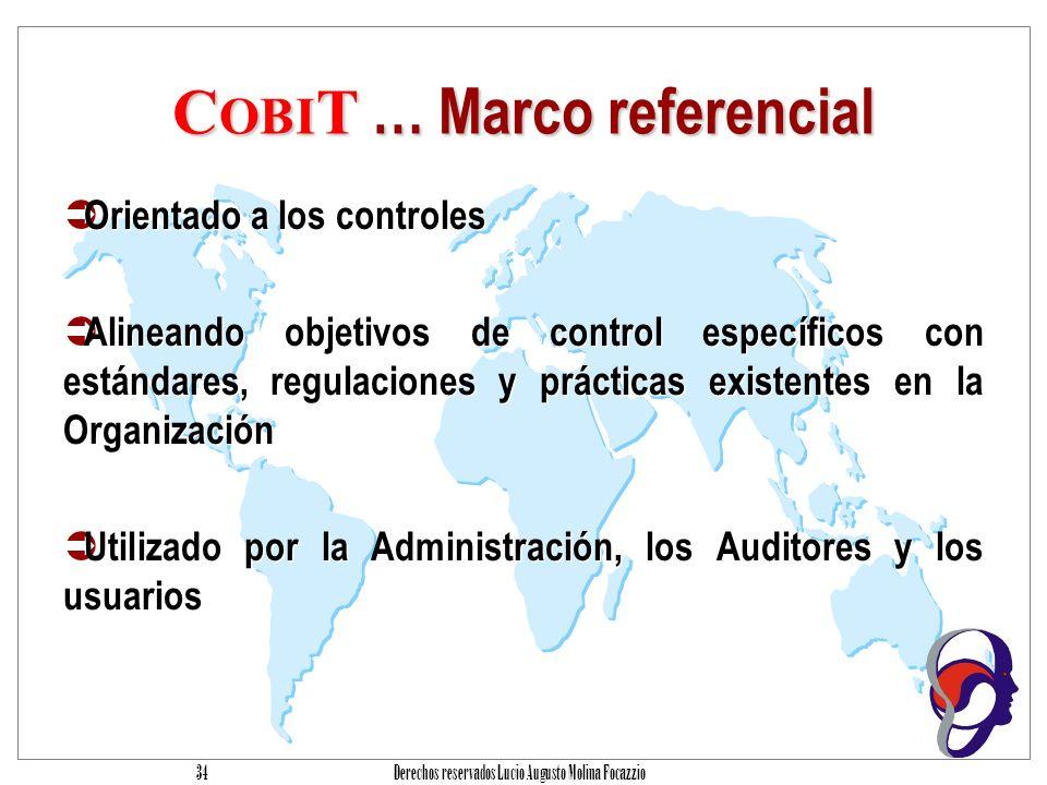 Derechos reservados Lucio Augusto Molina Focazzio 33 C OBI T … sus características Orientación al negocio Alineación con estándares y regulaciones de jure y de facto Basado en una revisión critica de tareas y actividades en tecnología de información.