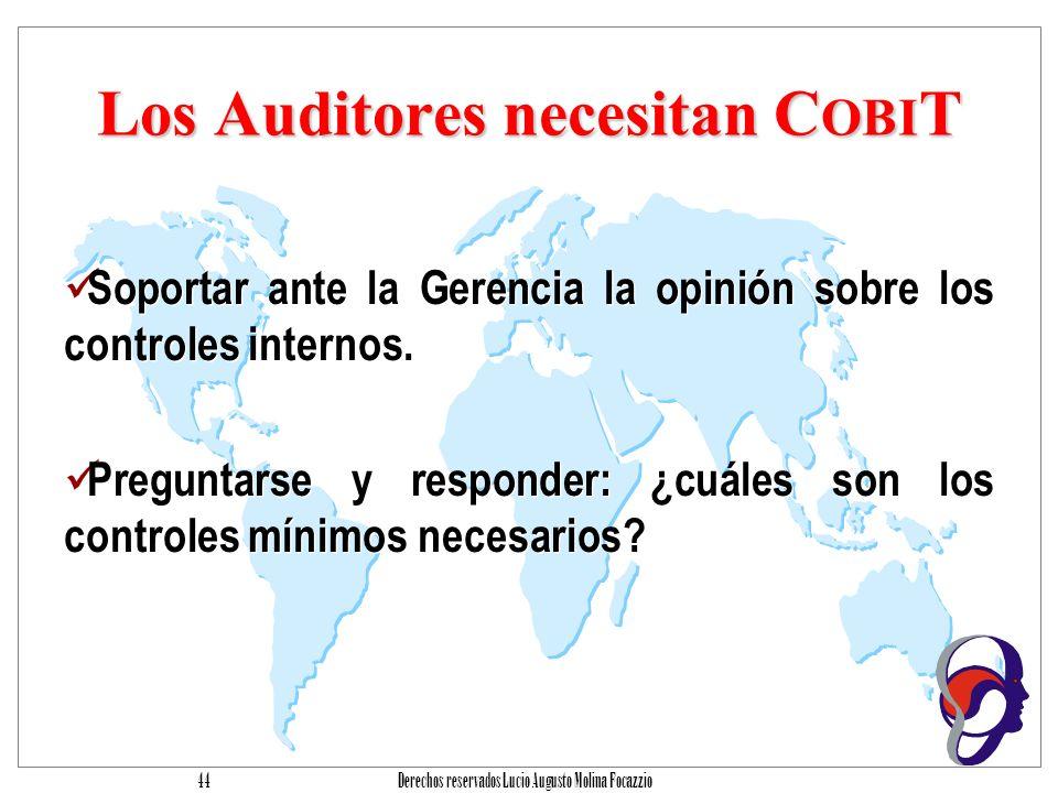Derechos reservados Lucio Augusto Molina Focazzio 43 Los usuarios necesitan C OBI T Obtener garantía del retorno de inversión sobre la seguridad, los controles y los productos y servicios que ellos adquieren interna y externamente.