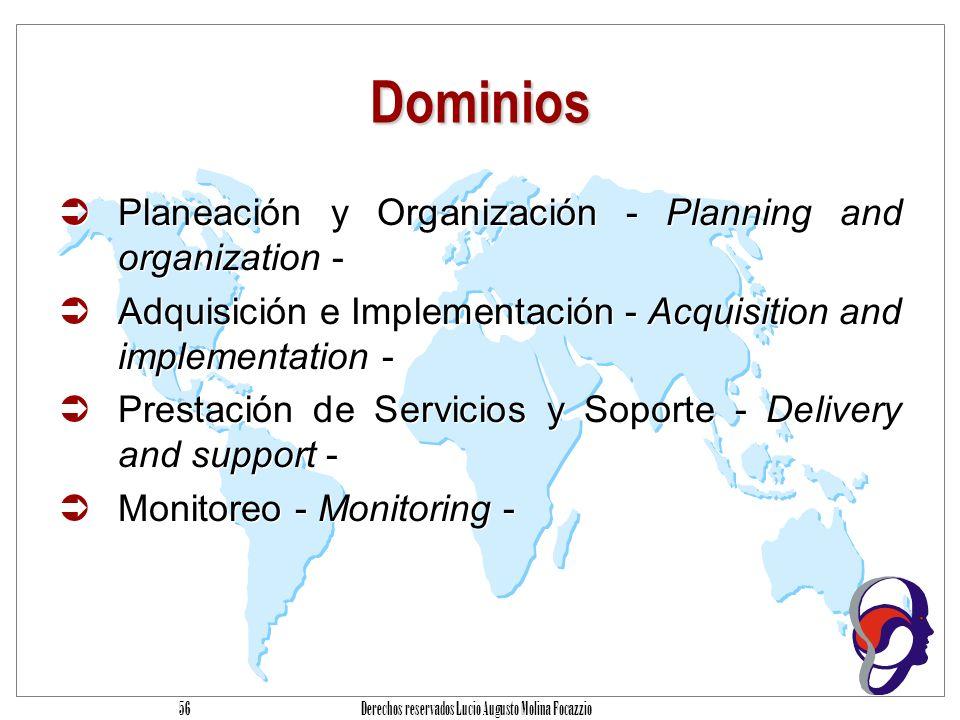 Derechos reservados Lucio Augusto Molina Focazzio 55 Procesos de TI Procesos Series de actividades unidas con cortes naturales de control.