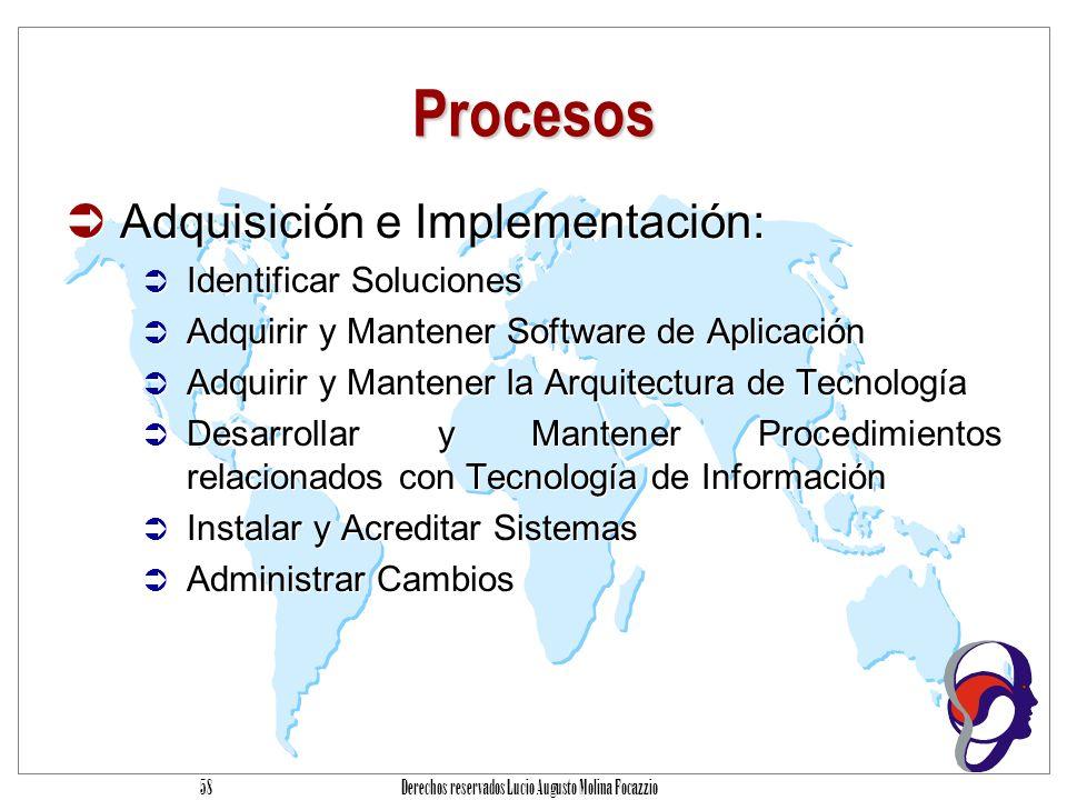 Derechos reservados Lucio Augusto Molina Focazzio 57 Procesos Planeación y Organización Definir un Plan Estratégico de Tecnología de Información Definir la Arquitectura de Información Determinar la Dirección tecnológica Definir la Organización y las Relaciones con TI Administrar la Inversión en Tecnología de Información Comunicar la Dirección y aspiraciones de la gerencia Administrar Recursos Humanos Asegurar el Cumplimiento de Requerimientos Externos Evaluar Riesgos Administrar Proyectos Administrar Calidad Planeación y Organización Definir un Plan Estratégico de Tecnología de Información Definir la Arquitectura de Información Determinar la Dirección tecnológica Definir la Organización y las Relaciones con TI Administrar la Inversión en Tecnología de Información Comunicar la Dirección y aspiraciones de la gerencia Administrar Recursos Humanos Asegurar el Cumplimiento de Requerimientos Externos Evaluar Riesgos Administrar Proyectos Administrar Calidad