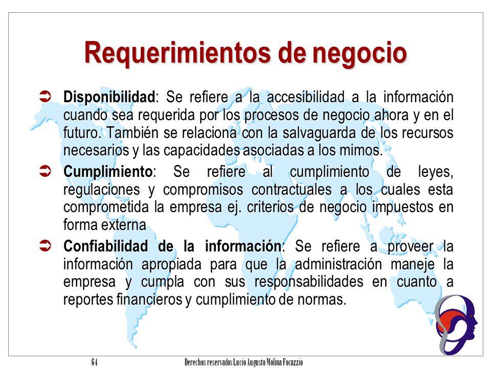 Derechos reservados Lucio Augusto Molina Focazzio 63 Requerimientos de negocio Efectividad : Se refiere a que la información debe ser relevante y pertinente para los procesos de negocio así como ser proporcionada en forma oportuna, correcta, consistente y utilizable.
