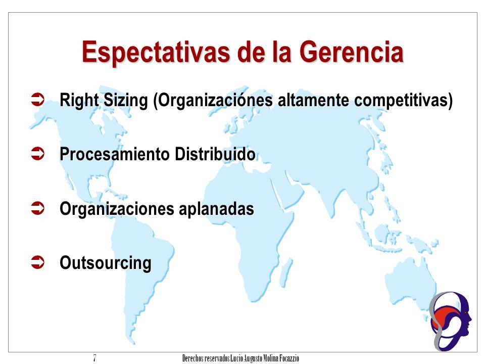 Derechos reservados Lucio Augusto Molina Focazzio 7 Espectativas de la Gerencia Right Sizing (Organizaciónes altamente competitivas) Procesamiento Distribuido Organizaciones aplanadas Outsourcing Right Sizing (Organizaciónes altamente competitivas) Procesamiento Distribuido Organizaciones aplanadas Outsourcing