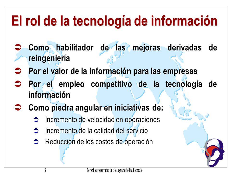 Derechos reservados Lucio Augusto Molina Focazzio 48 Procesos de TI y sus dominios RECURSOS DE TI datos sistemas de aplicación tecnología instalaciones personas PLANEACON Y ORGANIZACION ADQUISICION E IMPLEMENTACION PRESTACION DE SERVICIOS Y SOPORTE MONITOREO Definición de un Plan Estratégico de Tecnología de Información Definición de la Arquitectura de Información Determinación de la dirección tecnológica Definición de la Organización y de las Relaciones de TI Manejo de la Inversión en Tecnología de Información Comunicación de la dirección y aspiraciones de la gerencia Administración de Recursos Humanos Aseguramiento del Cumplimiento de Requerimientos Externos Evaluación de Riesgos Administración de proyectos Administración de Calidad Identificación de Soluciones Adquisición y Mantenimiento de Software de Aplicación Adquisición y Mantenimiento de Arquitectura de Tecnología Desarrollo y Mantenimiento de Procedimientos relacionados con Tecnología de Información Instalación y Acreditación de Sistemas Administración de Cambios Monitoreo del procesos Obtención de aseguramiento independiente Definición de Niveles de Servicio Administración de Servicios prestados por Terceros Administración de Desempeño y Capacidad Aseguramiento de Servicio Continuo Garantizar la Seguridad de Sistemas Identificación y Asignación de Costos Educación y Entrenamiento de Usuarios Apoyo y Asistencia a los Clientes de Tecnología de Información Administración de la Configuración Administración de Problemas e Incidentes Administración de Datos Administración de Instalaciones Administración de Operaciones