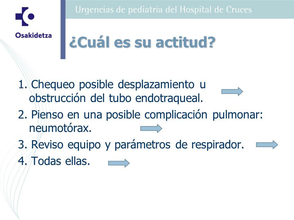 1. Chequeo posible desplazamiento u obstrucción del tubo endotraqueal. 2. Pienso en una posible complicación pulmonar: neumotórax. 3. Reviso equipo y